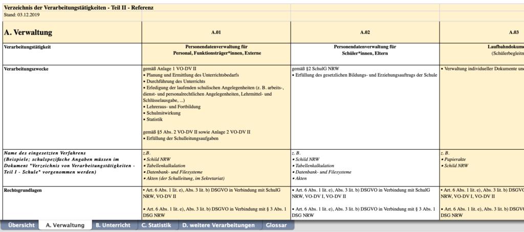Screenshot Referenz-Verarbeitungsübersicht Schulen NRW